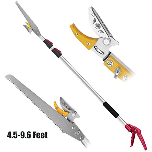 Belpink Long Tree Pruner With Pole Saw | Telescopic Long Reach Fruit Picker 4.5-9.6 Feet| Handled Garden bypass Tree Lopper Telescoping Lopper