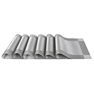 SiCoHome Placemats PVC Dining Room Placemats for Table Heat Insulation Stain-resistant Woven Vinyl Kitchen Placemat Vinyl Placemats,Set of 6(Diagonal Silver-gray)