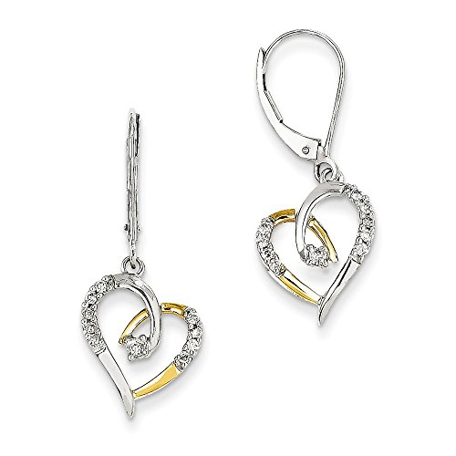 Prices for Diamond Heart Leverback Earrings - 3