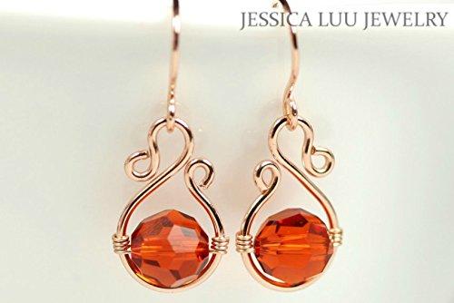 Amazon.com: Rose Gold Burnt Orange Earrings Indian Red Swarovski ...