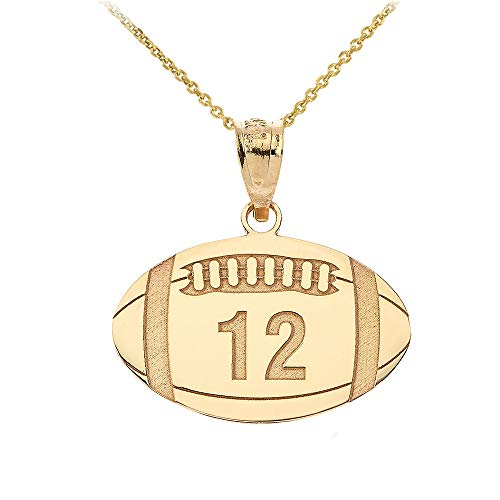 10k Gold Football Pendant - Sports Charms 10k Yellow Gold Customized Football Necklace with Your Name and Number, 16