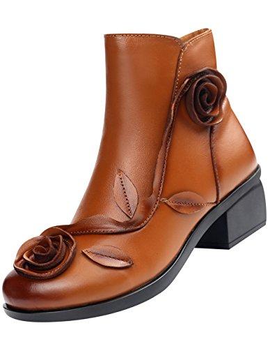Zoulee Kvinna Läder Etniska Unika Blommor Söt Fotled Bootie Gul