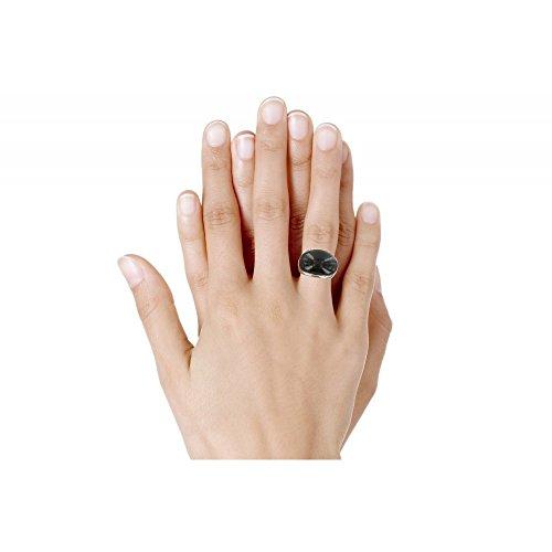 Les Poulettes Bijoux - Bague Argent Dôme Coquille d'Onyx Noir