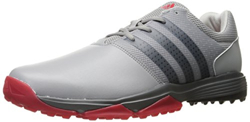 adidas Men's 360 Traxion Golf Shoe, LIGHT ONIX/CORE BLACK/SCARLET, 9 M US