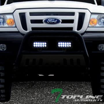 Topline Autopart Polished Stainless Steel Bull Bar Brush Push Bumper Grill Grille Guard With Skid Plate 36W CREE LED Fog Lights For 11-19 Toyota Sienna