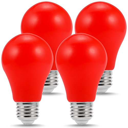 LOHAS Red Light Bulb, LED A19, Red Christmas bulbs, E26 Medium Base, Decorative Holiday Lights, 3W, Non-Dimmable(4 Pack)