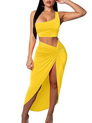 BEAGIMEG Women's Sexy One Shoulder Long Bodycon Slit Skirt 2 Pieces Dress Yellow