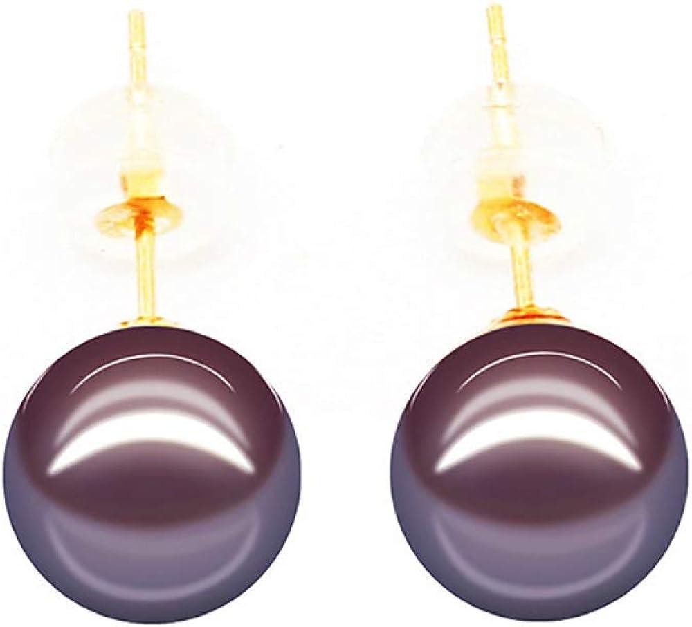 Pengjia Fine Pearlearrings Culturedpearlpendientes De Perlas Perlas De Agua Dulce Redondas Sin Defectos Púrpura Simple Oro 18K Orejas Uñas Señora