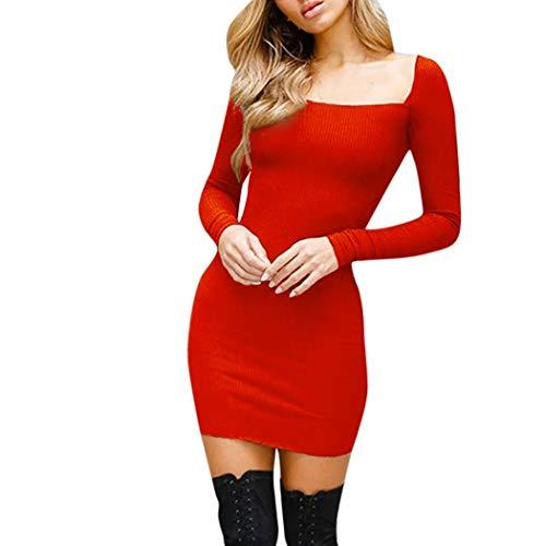 ❤️ Vestidos de Fiesta Mujer,Modaworld Mini Vestido de Manga Larga Camisola para Mujer Vestido de Fiesta de Noche niña Vestido Casual Elegante Falda Camisa Blusa Tops rojo