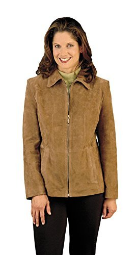 REED Women's Genuine Suede Leather Fashion Jacket (Medium, Camel) (Ladies Genuine Leather Suede)