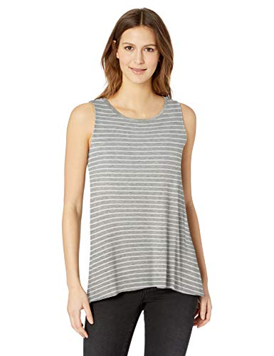 Amazon Essentials Women's Patterned Swing Tank, Thin Stripe Grey Heather, M