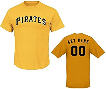 premium selection 75f6a ad2c9 Majestic Yellow Pittsburgh Pirates Custom (Any Name/# on Back) or Blank  Back MLB Licensed Replica Baseball Jersey 100% Cotton Crewneck T-Shirt