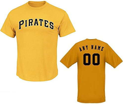 CUSTOM Adult 3XL Yellow Pittsburgh Pirates MLB Licensed Cotton Crewneck Replica Jersey T-Shirt