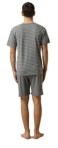 QIANXIU Men's Summer Short Sleeve Pajamas Casual Striped Shorts & Shirt PJ Set, Grey, Large by QIANXIU (Image #1)