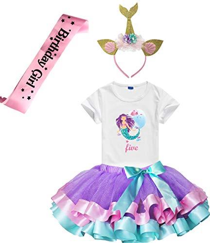 Girls Lavender Tutu Dress with Mermaid Birthday Tshirt & Headband, 3-8 Years