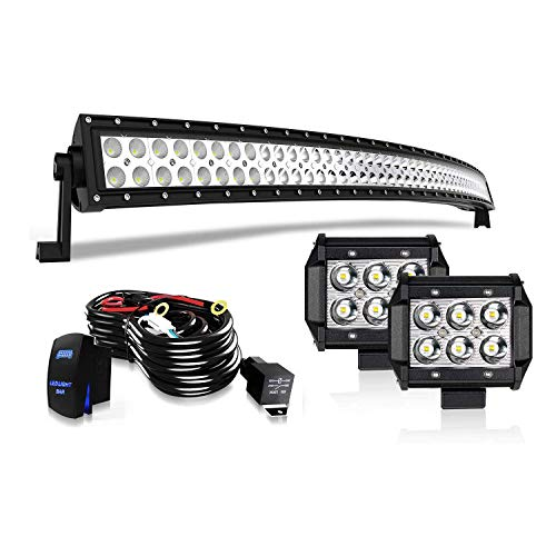 """TURBOSII 50"""" Curved LED Light Bar Spot Flood Offroad w/ 4"""" Pods Cube Auxiliary Driving Fog light Lamp On Grill Windshield Roof For Truck Jeep Wrangler Chevy Silverado Tahoe GMC Dodge Ram ATV 12V-24V"""