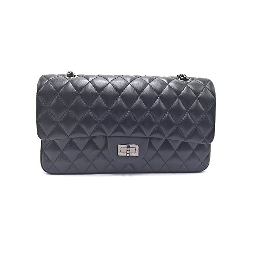 Sheli Branded Classic Medium Black Quilted Soft Lampskin Leather Shoulder Crossbody Handbag for (Classic Flap Leather)