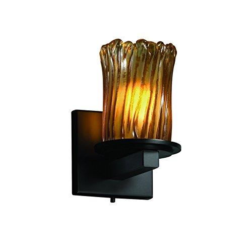 Light Matte One Black Amber - Justice Design Group Veneto Luce 1-Light Wall Sconce - Matte Black Finish with Amber Venetian Glass Shade