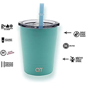 QT Colored Stainless Steel Tumbler Sippy w/ Lid & Straw (Teal)