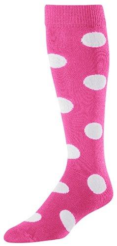 TCK Krazisox Polka Dot Over The Calf Socks, Hot Pink/White, Small -