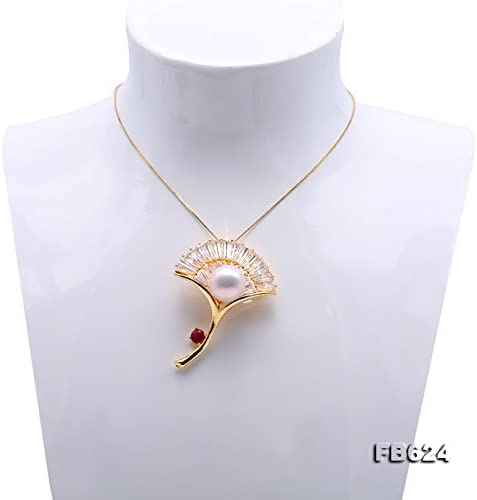 JYX Golden-tone Gingko White Freshwater Pearl Brooches Pins