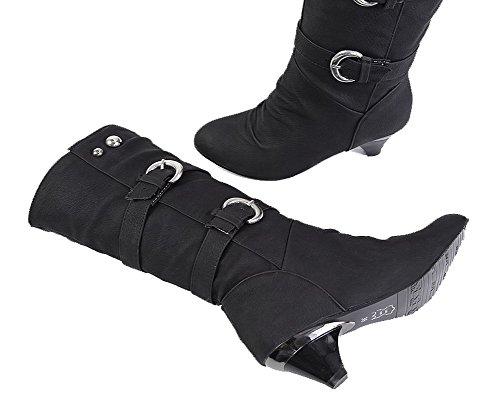AgeeMi Shoes Mujeres Hebilla Suede Tacón Medio Puntera EN Punta Botas Negro
