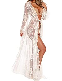 91be9ebd4 Women Sexy Long Lace Dress Sheer Gown See Through Lingerie Kimono Robe  Swimsuit Cover Up