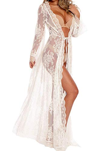 Women Sexy Long Lace Dress Sheer Gown See Through Lingerie Kimono Robe (White, One Size)