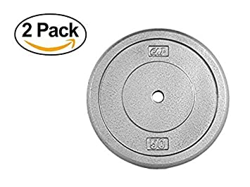 CAP Barbell* Standard Free Weight Plate, 1-Inch Standard Bars, 50-Pound in Gray, Set of 2