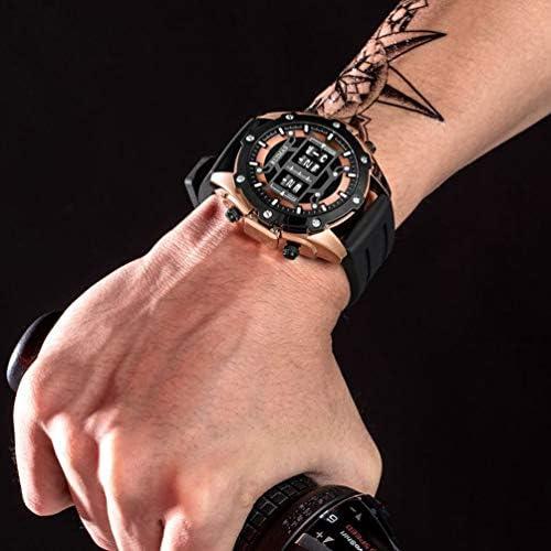 RUIMAS Montre Homme Quartz Or Rose avec Bracelet en Silicone Noir - Cadran Grand Numérique - Waterproof