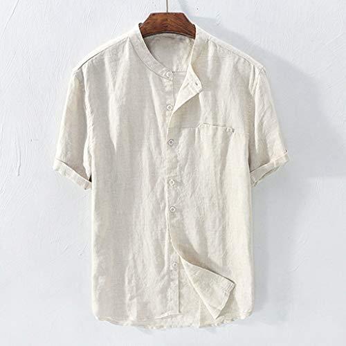 YKARITIANNA Mens Baggy Cotton Linen Solid Color Short Sleeve Retro T Shirts Tops Blouse