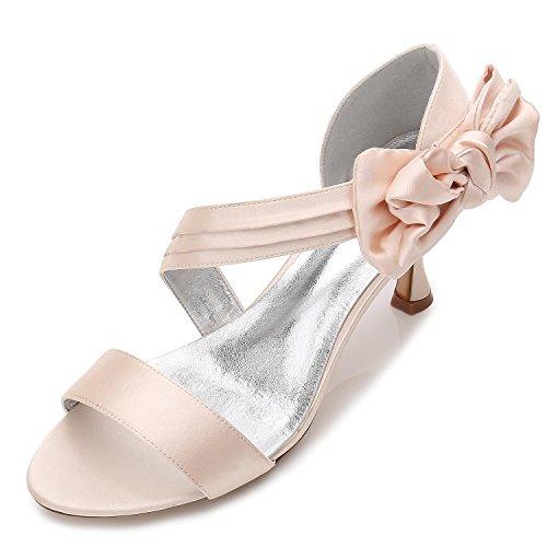 L@YC Damen-Hochzeits-Schuhe R17061-50 Offene Zehe-Grundlegende Pumpen-Elastische Mittlere Schmetterlings-Brautschuhe Champagne