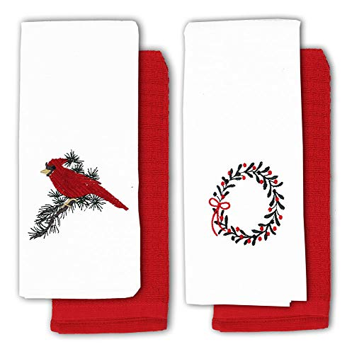 Red Cardinal Winter Christmas Wreath 4 Pack of Cotton Embroidered Kitchen Towels - Hand Embroidered Dish Towel