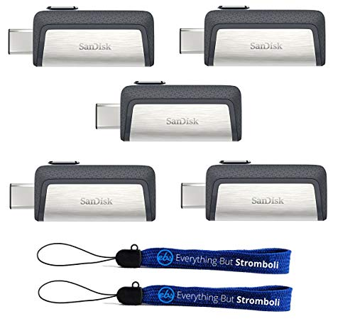 SanDisk Ultra 64GB Dual Drive USB Type-C (Five Pack Bundle) Works with Smartphones, Tablets, and Computers (SDDDC2-064G-G46) Plus (2) Everything But Stromboli (TM) Lanyard