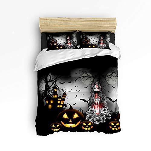 IDOWMAT Twin Duvet Cover Sets 4 Piece Bedding Set Bedspread 2 Decorative Pillow Shams, Flat Sheet Adult/Kids/Teens/Children - Halloween Night Horror Castle Pumpkin Zombie Girl