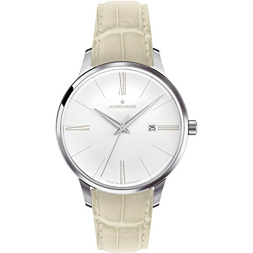 Junghans Meister Ladies 047/4370.00 30.8mm Stainless Steel Case Beige Leather Glass Women's Watch