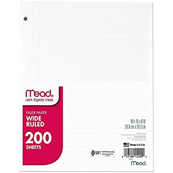 """Mead Loose Leaf Paper, Filler Paper, Wide Ruled, 200 Sheets, 10-1/2"""" x 8"""", 3 Hole Punched, 1 Pack (15200)"""
