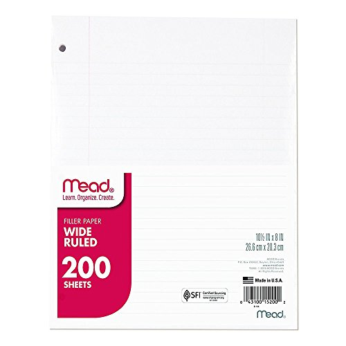 (Mead Loose Leaf Paper, Filler Paper, Wide Ruled, 200 Sheets, 10-1/2