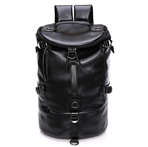 (CHAO RAN Men Large Travel Duffle Gym Luggage Bag Leather Backpack Shoulder School Handbag)