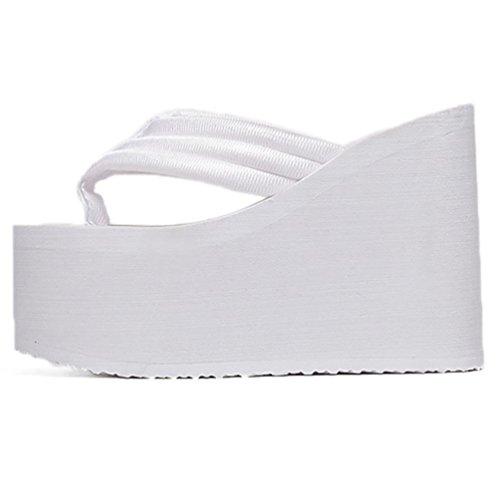 SHANGXIAN de las mujeres del mollete inferior antideslizante chanclas sandalia de la cuña White