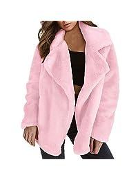 Pervobs Women Winter Coat Thicken Warm Long Sleeve Lapel Coat Outerwear Overcoat