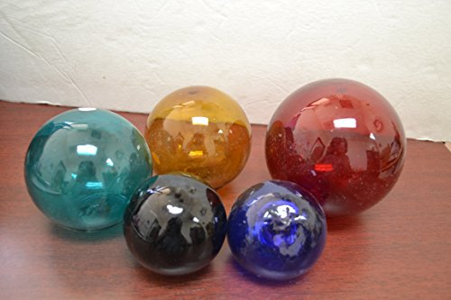 5 Pcs Reproduction Blown Glass Float Fishing Buoy Ball Assort Sizes Colors (Blown Glass Ball)