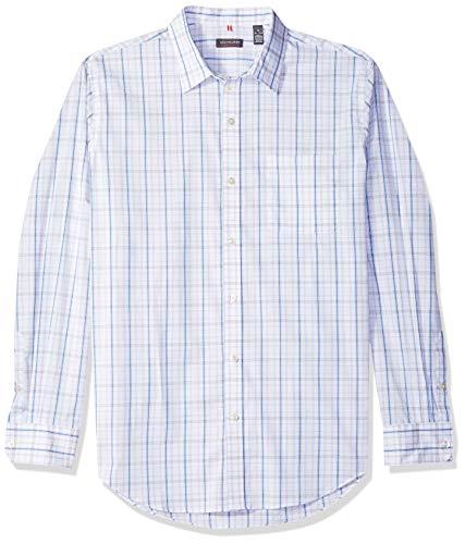 Van Heusen Men's Traveler Stretch Long Sleeve Button Down Blue/White/Purple Shirt, Clean Bright, X-Large ()
