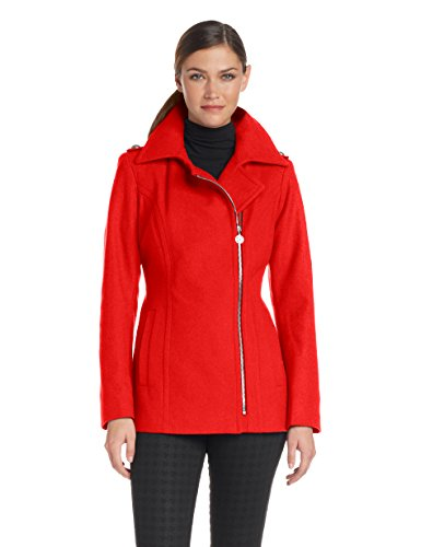 Anne Klein Women's asymmetrical Wool Zip Jacket, Persimmon, Large