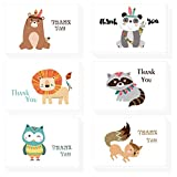 Morkka 36 Pack Kraft Paper Thank You Cards Greeting Card Envelopes and Stickers for Wedding Graduation Men & Women Sympathy (Cartoon-1)
