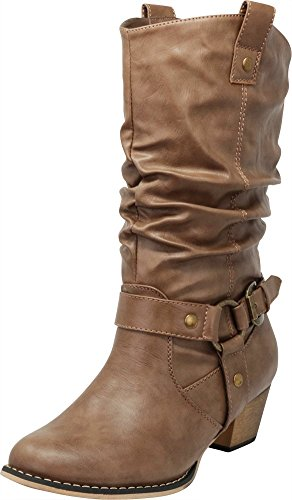 Cambridge Select Women's Pull On Western Style Cowboy Boots (8.5 B(M) US, Taupe) by Cambridge Select (Image #1)
