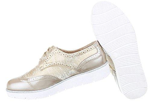 Damen Halbschuhe Schuhe Schnürer Elegant Gold 37 ScqyLfJ5