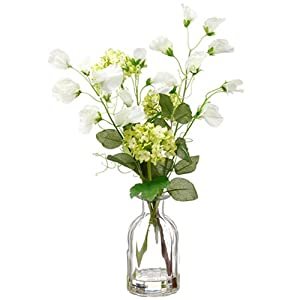 "15"" Sweet Pea & Snowball Silk Flower Arrangement -Green/White (Pack of 6) 58"