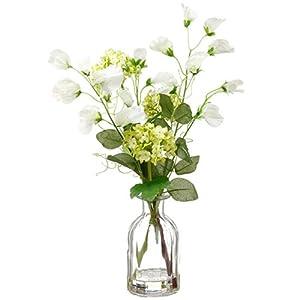 "15"" Sweet Pea & Snowball Silk Flower Arrangement -Green/White (Pack of 6) 33"