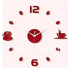 Modern Black Wall Clock 3D Diy Art Coffee Break Stickers Wall Decals for Office Living Dining Room Bedroom (Red)
